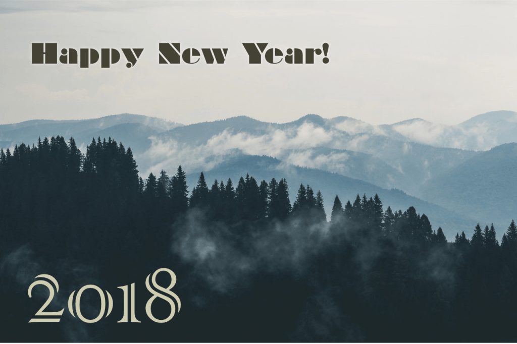 Happy New Years with a mountain background