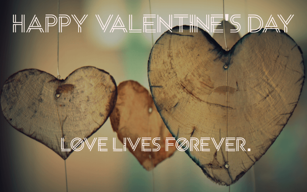 Wooden hearts of love lives forever
