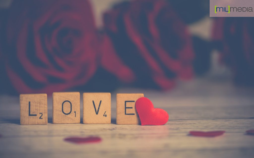 Love spelled with scrabble parts