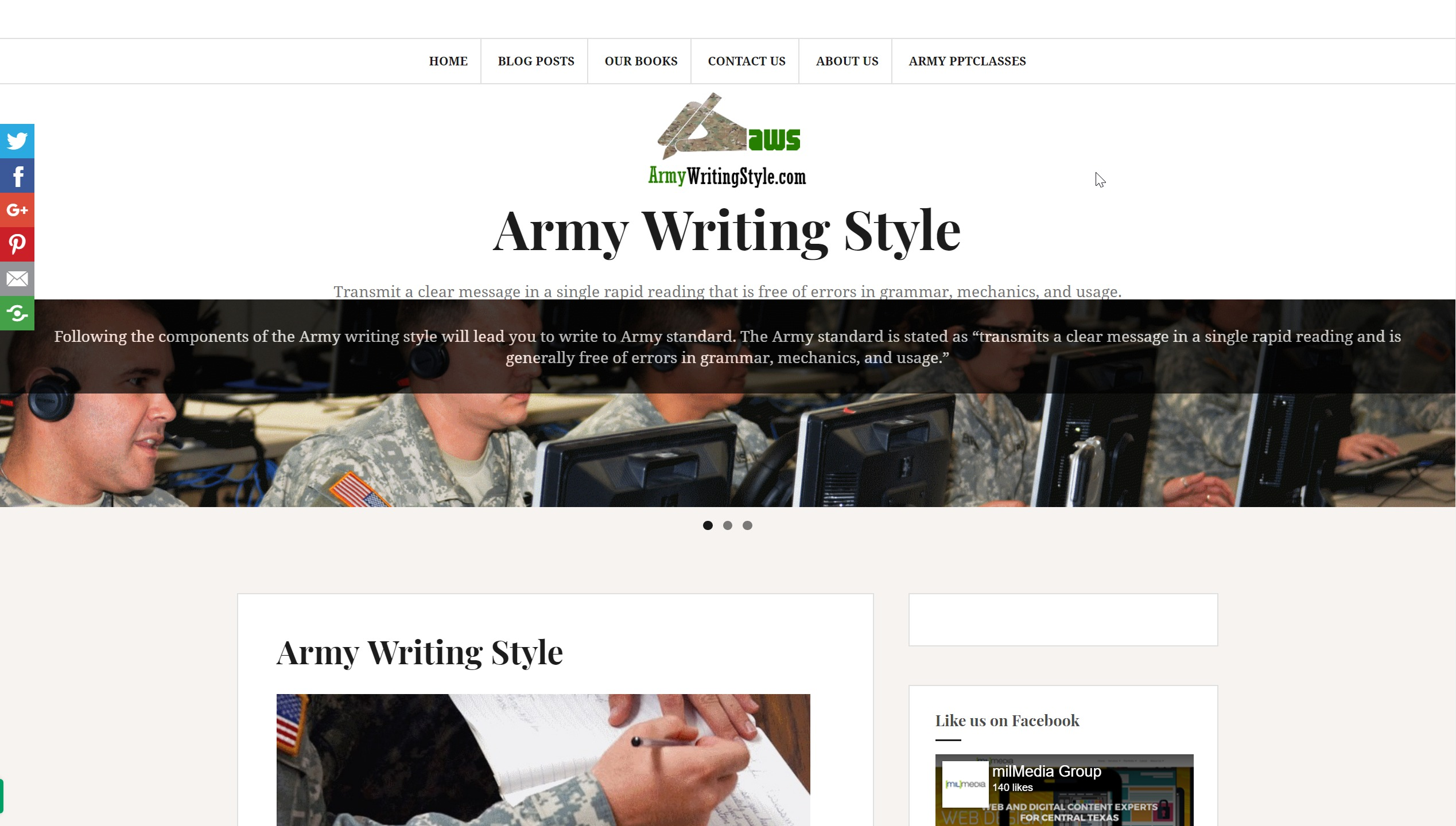 armywritingstyle.com webpage