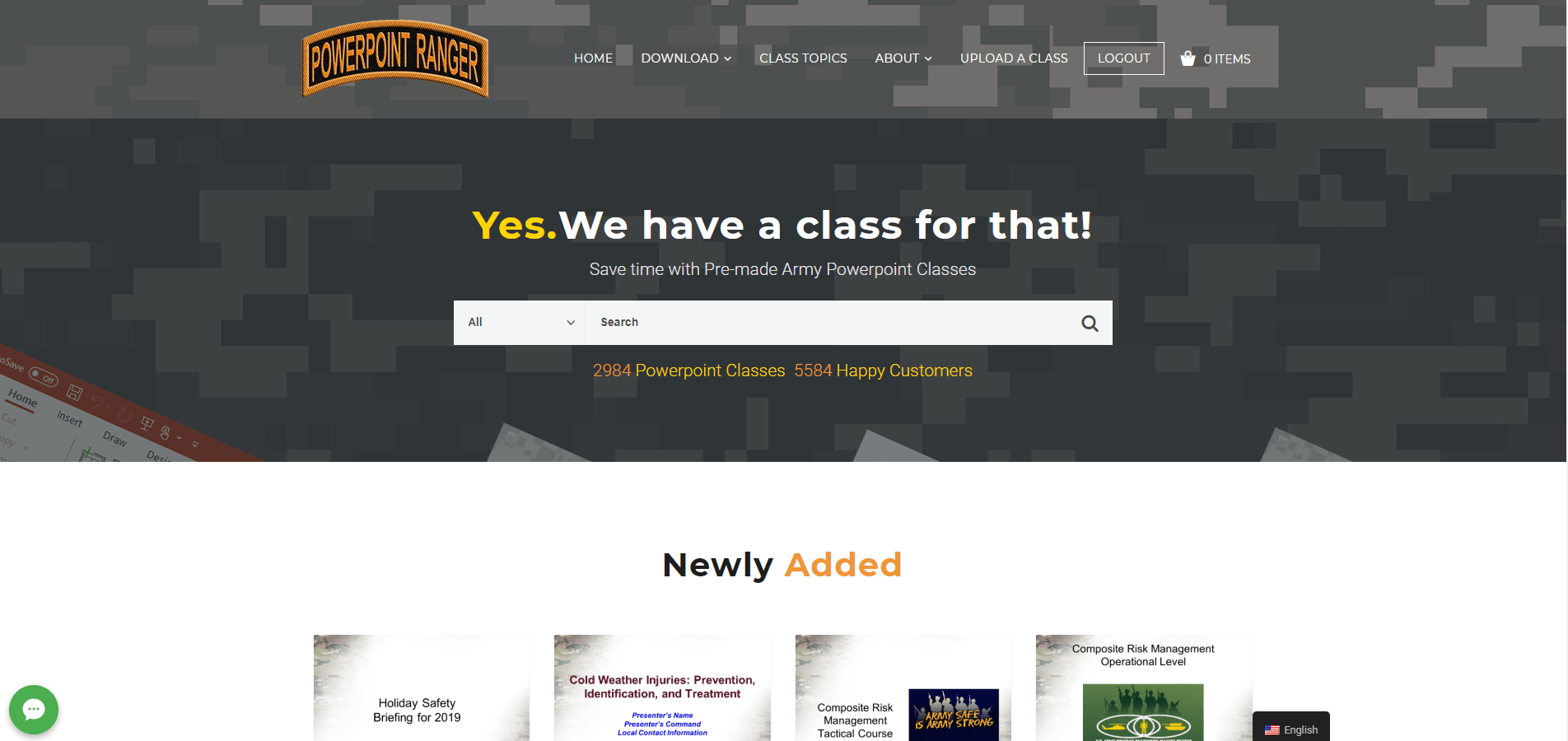 pptclasses.com screen shot of the home page
